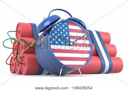 Time Bomb With Usa Flag