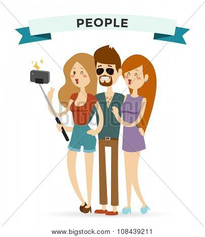 Selfie young couple friends portreit vector illustration. Selfie shot man, woman girls, friends together Vector selfie people set. Selfie concept modern friends selfie photo. Togetherness concept