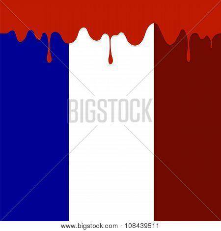 Flag of France and Blood Splatter.
