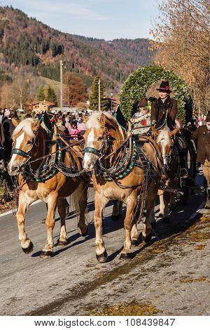 Schliersee, Germany, Bayern 08/11/2015: Parade Float in Schliersee in Leonhardifahrt