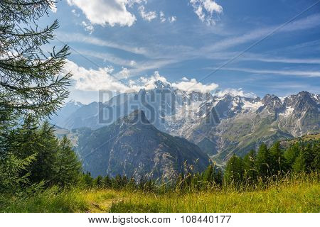 Monte Bianco Or Mont Blanc In Backlight, Italian Side
