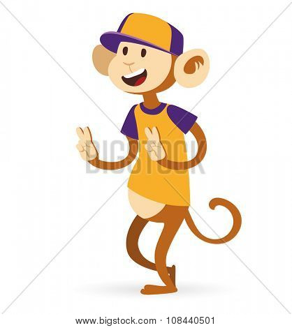 Selfie photo monkey ape boy hipster with cap vector portrait illustration on white background. Cartoon monkey hipster, animal ape monkey. Selfie shot monkey teenager boy. Vector monkey ape animal