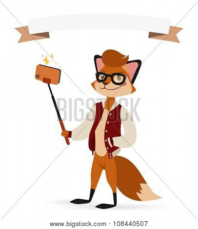 Selfie photo fox boy hipster with glasses vector portrait illustration on white background. Cartoon fox hipster, animal fox vector. Selfie shot fox teenager boy. Vector fox animal isolated. Fox like