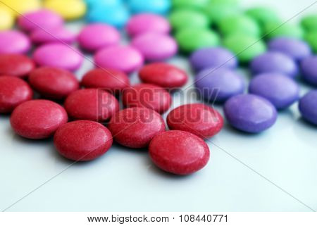 Detail Of Tasty Colorful Chocolate Candies Group