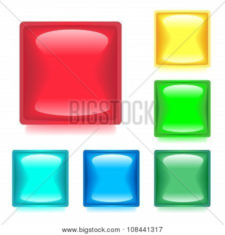 Set With Six Glossy Color Web Buttons