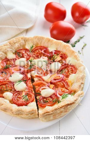 Tomatoes Pie With Cheese And Dill