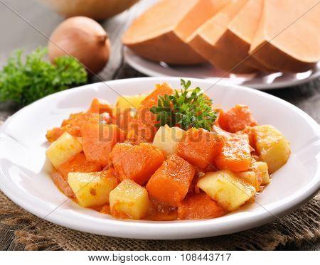 Stew Pumpkin, Potato, Onion