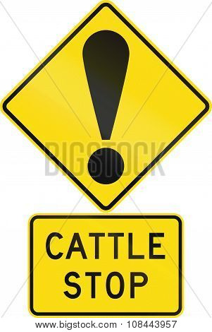 Road Sign Assembly In New Zealand - Cattle Stop