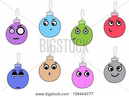 Clipart with emotional Christmas balls
