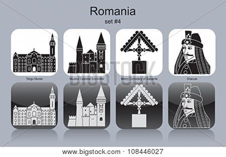 Landmarks of Romania. Set of monochrome icons. Editable vector illustration.