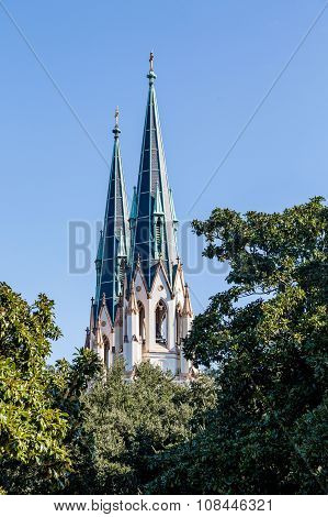 Twin Steeples Over Trees