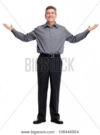 Handsome businessman presenting copy space. Isolated over white background.