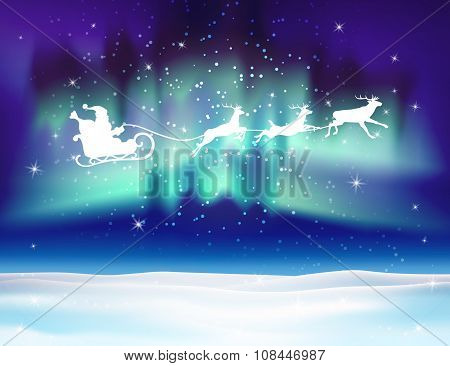 Vector reindeer and Santa Claus on northern lights background.