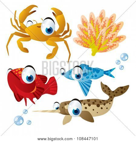 cute vector comic cartoon fish set: collection of sea life animals for children book illustration, flash card games, stickers or mobile applications: crab, coral, grouper, driftfish, narwhal