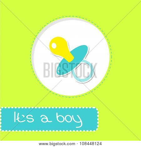 Baby Boy Pacifier. Shower Card