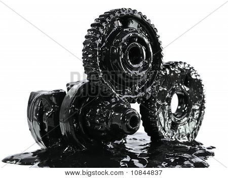 Gears Soiled With Black Oil