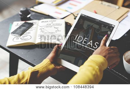 Ideas Working Using Tablet Technology Thinking Concept