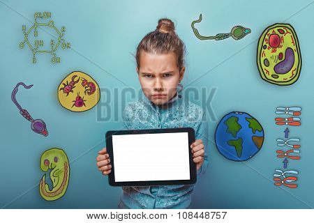 frowning girl holding a tablet in hands icon set Education biolo