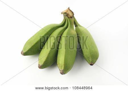 Green Unripe Bananas on White Background