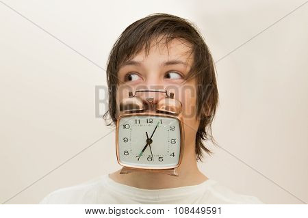 Funny White Man Hold In Mouth  Alarm Clock