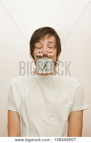 Funny Sleeping White Man Hold In Mouth Alarm Clock