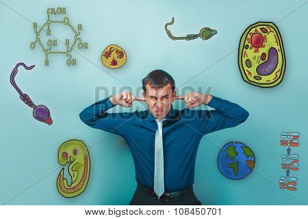 man grimaced fingers and plugged ears annoyed icons biology educ