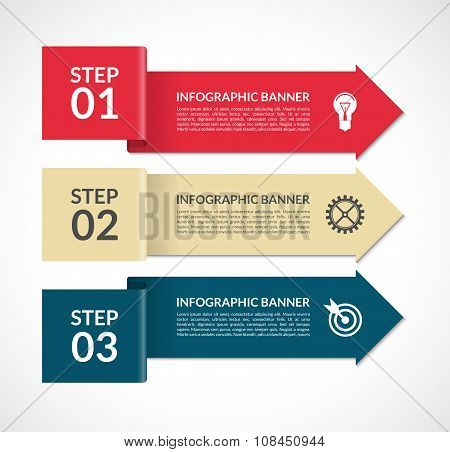 Vector infographic arrows. 3 steps design template