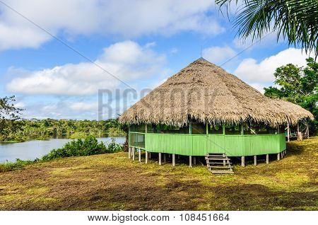 Small Hut In The Amazon Rainforest, Manaos, Brazil
