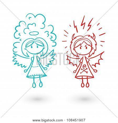Girl angel and devil vector illustration set.