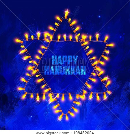 illustration of Happy Hanukkah, Jewish holiday background with light garland arrangement in shape of Star of David