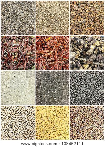 Thailand herbs for cooking, black pepper. Pepper, sesame seeds, black sesame seeds, dried mushrooms, soy beans, black beans.