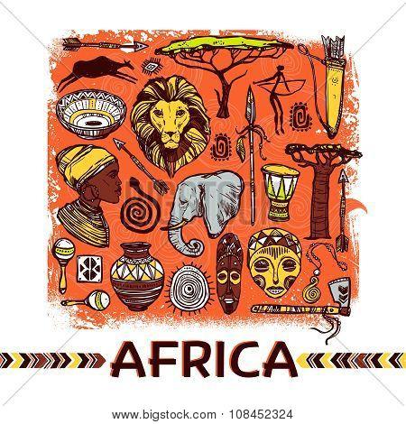 Africa Sketch Illustration