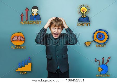 Teen boy businessman clutching his head in his hands and his mou