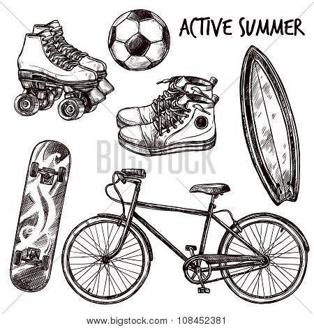 Active Recreation Sketch Set