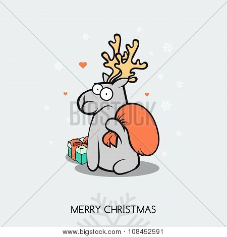 Christmas doodle greeting card with deer. Snowflakes and stars