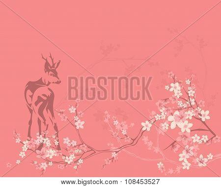 Spring Deer Background
