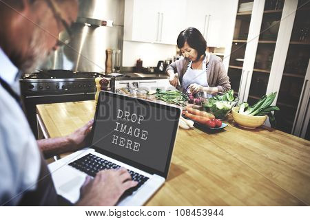 Laptop Cooking Kitchen Technology Copy Space Concept