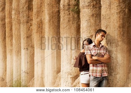 Beautiful man and woman on the nature. portrait