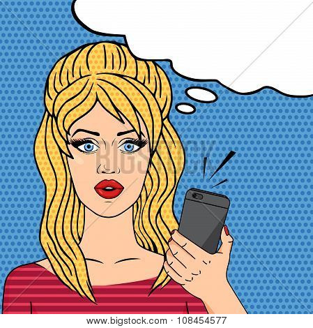 Retro Girl With Mobile Phone Pop Art Comic Style, Speech Bubble