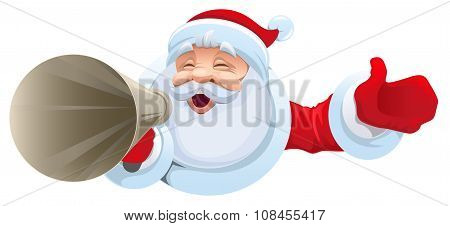 Santa shouts into megaphone. Christmas sale