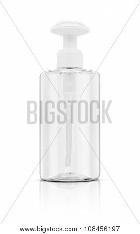 Blank Packaging Cosmetic Clear Bottle Isolated On White Background