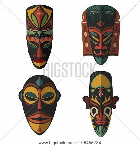 Set Of African Ethnic Tribal Masks On White Background