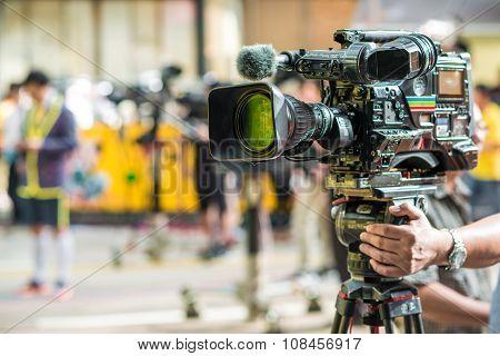 Close Up Of Video Camera On Crain