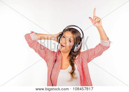Happy Funny Young Woman With Headphones