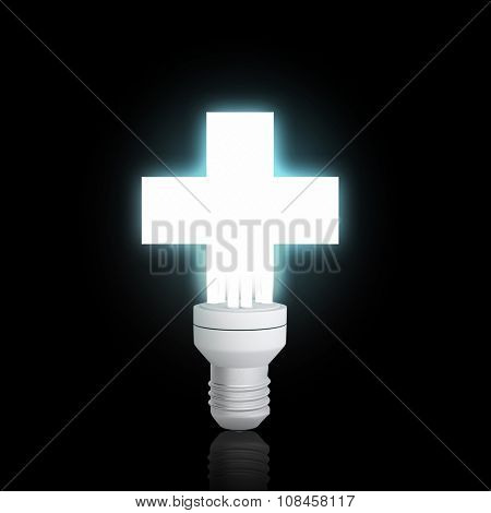 Cross light bulb glowing icon on dark background