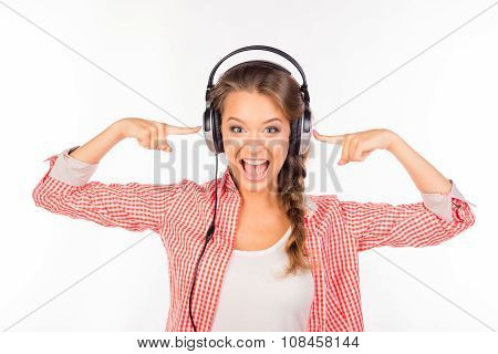 Happy Positive Young Woman With Headphones