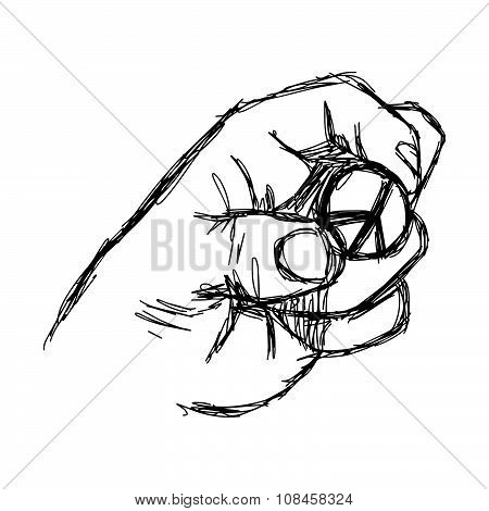 Illustration Vector Doodle Hand Drawn Of Sketch Left Hand Holding Peace Sign Coin.
