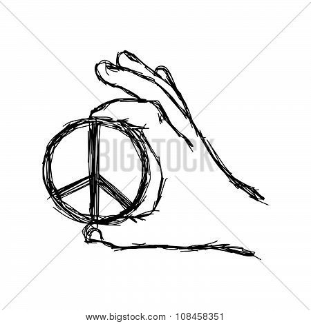 Illustration Vector Doodle Hand Drawn Of Sketch Right Hand Holding Big Peace Sign Coin.