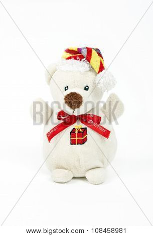 White toy of bear isolated on white background