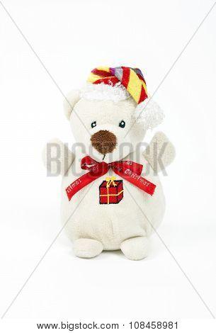 White toy of bear isolated on white background